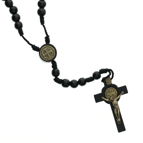 Small Black Wood St. Benedict Rosary
