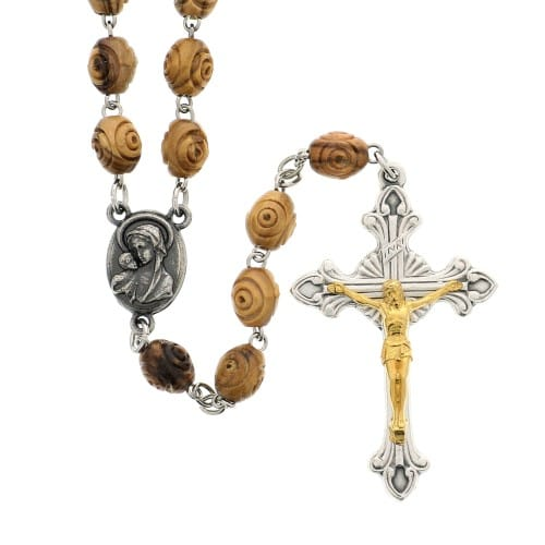 Olive Wood Carved Bead Rosary with Holy Land Soil