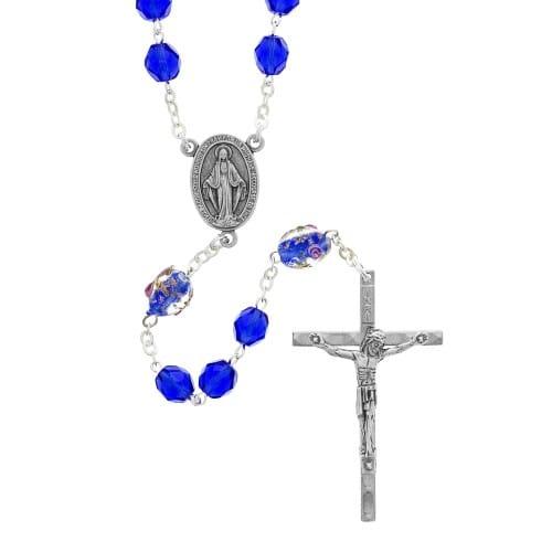 Royal Blue Glass Bead Rosary 2001957