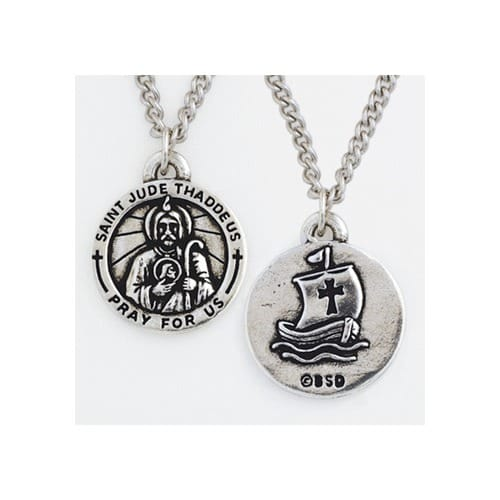 St jude thaddeus pewter medal 24 inch chain the catholic company st jude thaddeus pewter medal 24 inch chain mozeypictures Gallery