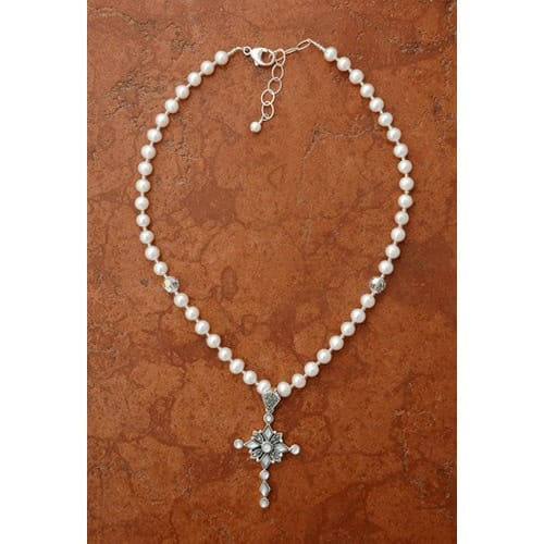 Sterling Silver Freshwater Pearl Necklace, Mother of Pearl Cross
