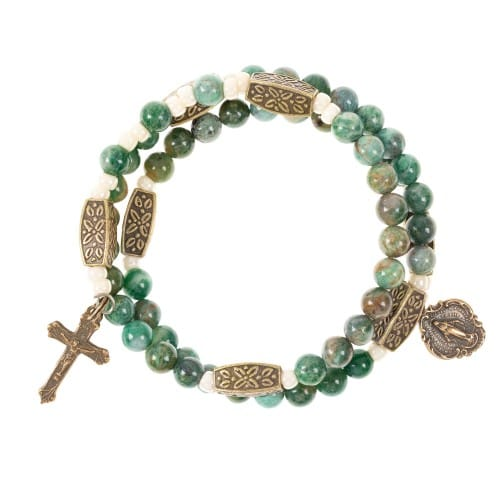Jade Green & Brass Rosary Wrap Bracelet 2003332