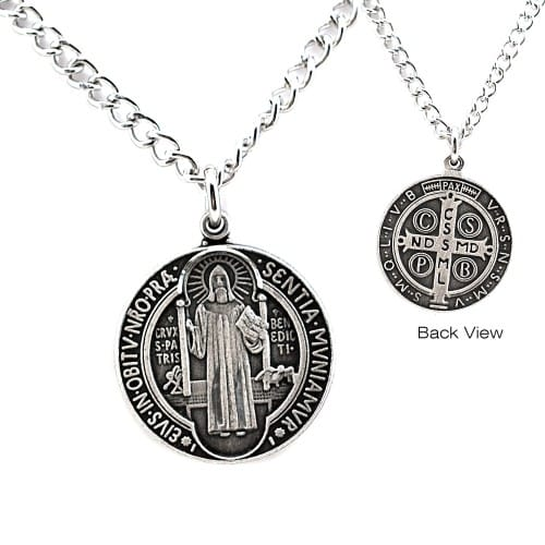 """St. Benedict Antiqued Silver Medal, 24"""" chain"""