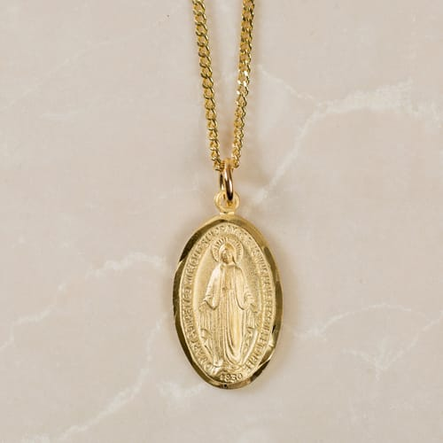 Gold/Sterling Silver Miraculous Medal on 18