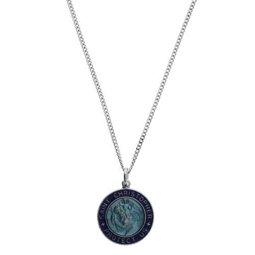 Sterling Silver St. Christopher Blue Medal on 18 inch chain