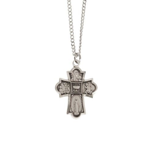 Sterling Silver 4-Way Cross First Communion Chalice Center Medal
