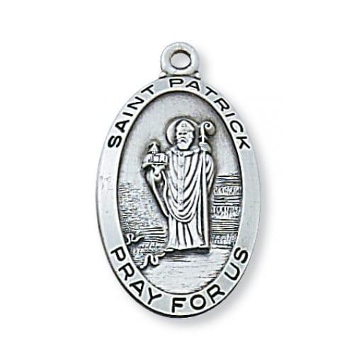 St. Patrick Oval Patron Saint Medal - Sterling Silver