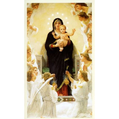 Virgin with Angels / Mary Queen of Angels Personalized Prayer Card ...