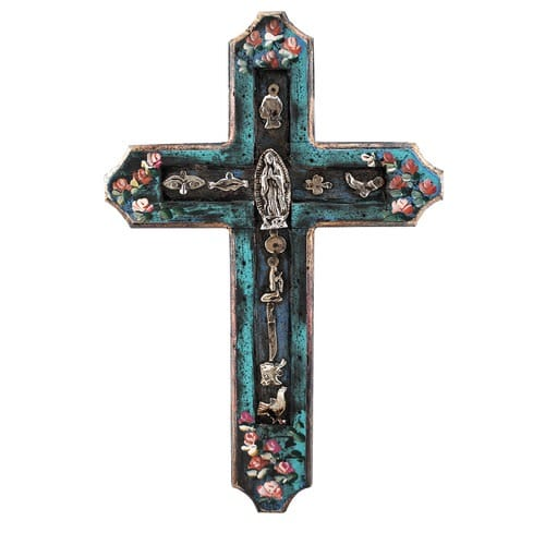 Mexican Handpainted Cross with Milagros & O.L. of Guadalupe, 12 ...