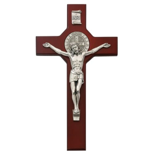 St. Benedict Stained Cherry Crucifix - 10.5 inch