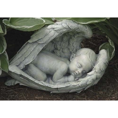 Sleeping Baby in Wings Garden Figure