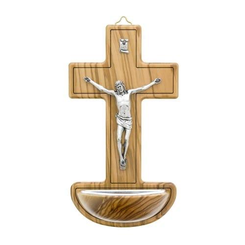 Olive Wood Crucifix Font