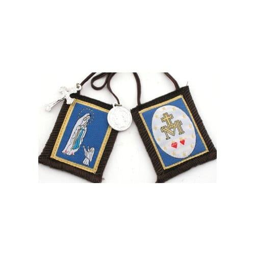 Our Lady of Lourdes Scapular with Brown Cord