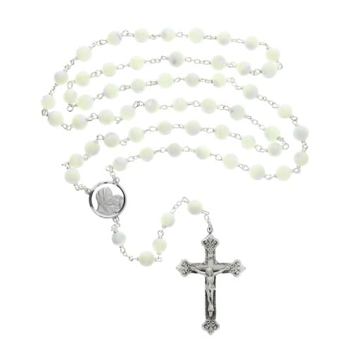 Sterling Silver Mother of Pearl Rosary - 8mm