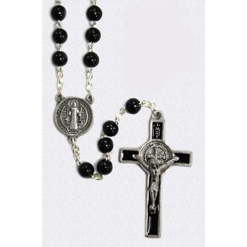 Saint Benedict Wood Bead Rosary