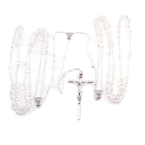Wedding Lasso Rosary - Crystal beads - Silver chain 43 inch