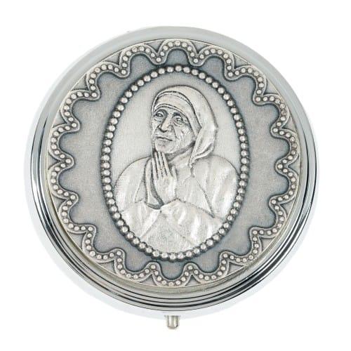 Mother Teresa Embossed Metal Rosary Box