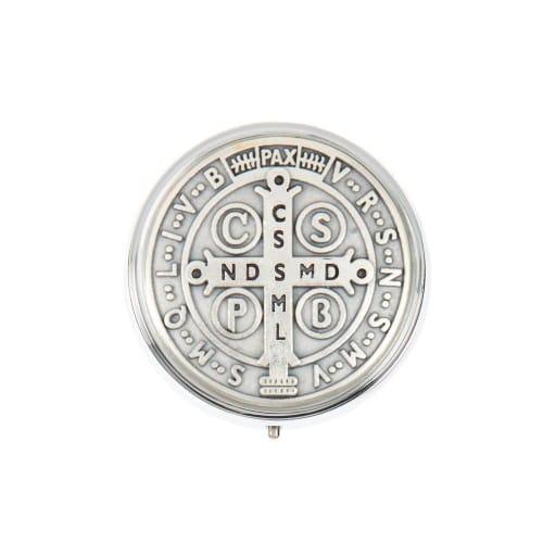 St. Benedict Medal Embossed Metal Rosary Box