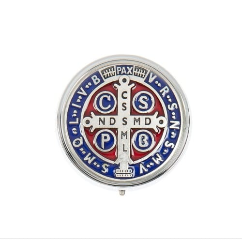 St. Benedict Medal Enameled Metal Rosary Box
