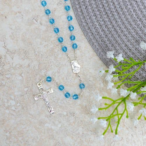 Blue Swarovski Crystal and SS Rosary