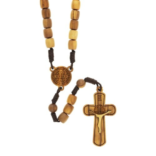 Olive Wood St. Benedict Corded Rosary