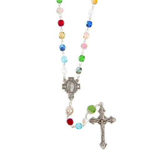 Multicolored 6mm Glass Rosary