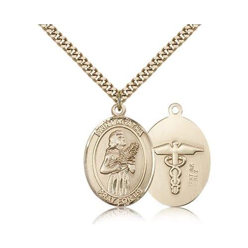 Gold Filled St. Agatha Nurse Pendant w/ chain