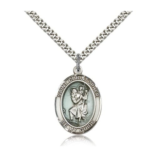 Sterling silver st christopher pendant w chain the catholic company mozeypictures Image collections