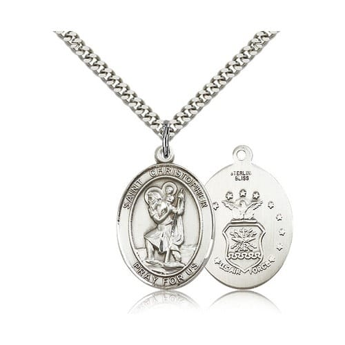 Sterling silver st christopher pendant us air force insignia w sterling silver st christopher pendant us air force insignia w chain the catholic company aloadofball Gallery