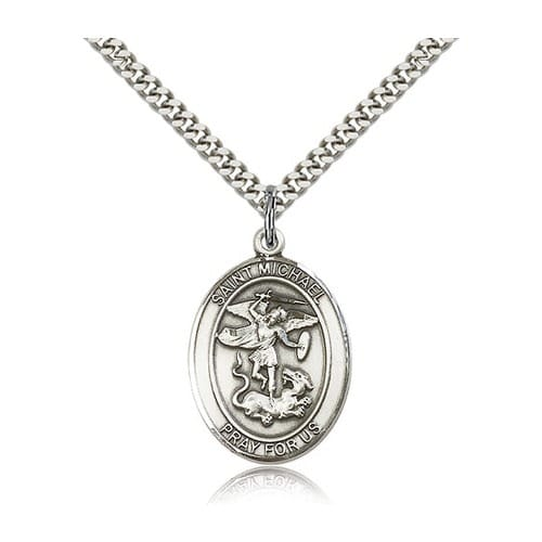 Sterling silver st michael the archangel pendant w chain the sterling silver st michael the archangel pendant w chain the catholic company aloadofball Choice Image