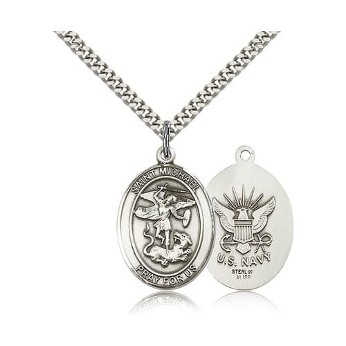 Sterling silver st michaelus navy pendant w chain the sterling silver st michaelus navy pendant w chain the catholic company mozeypictures Images