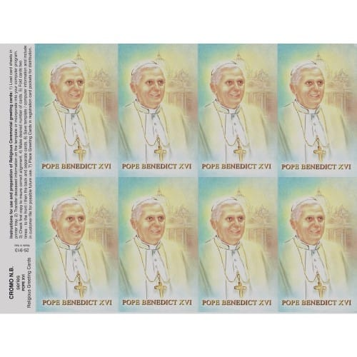Pope Benedict Personalized Prayer Card (Priced Per Card)