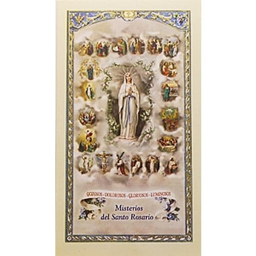 Misterios Del Santo Rosario (Mysteries of Rosary) - Spanish Prayer Card