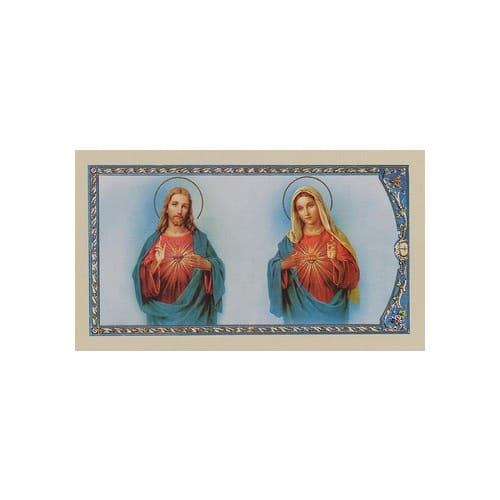 Sacred Heart of Jesus and Immaculate Heart of Mary - Prayer Card