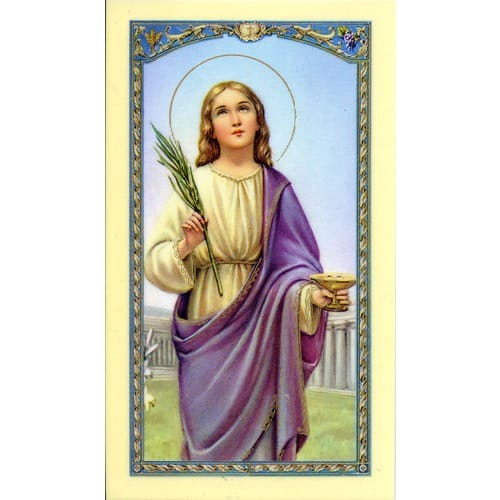 Prayer in Honor of St. Lucy Laminated Prayer Card