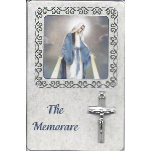 Memorare Laminated Card with Crucifix