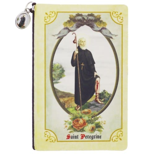 St. Peregrine Folded Prayer Card with Medal