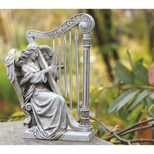 Garden Angel with Harp Chimes 10""
