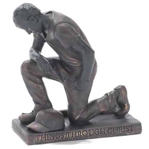 Praying Baseball Player Statue
