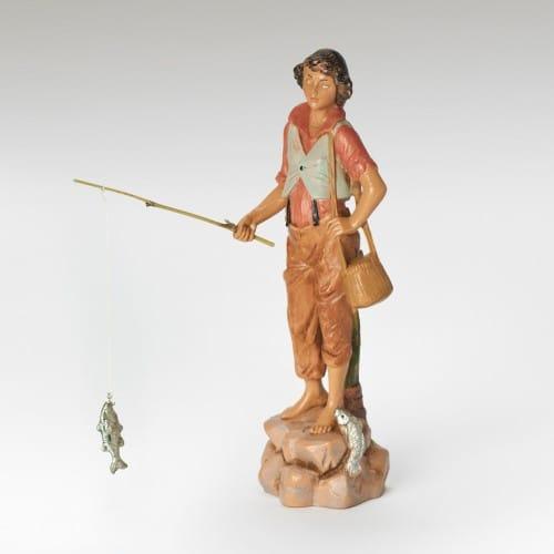 "Fontanini Jacob Fishing Boy Figure 7.5"" Scale"