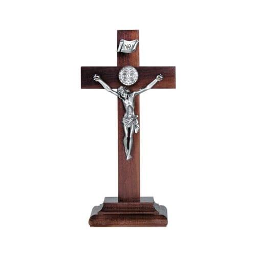 Standing Walnut St. Benedict Crucifix