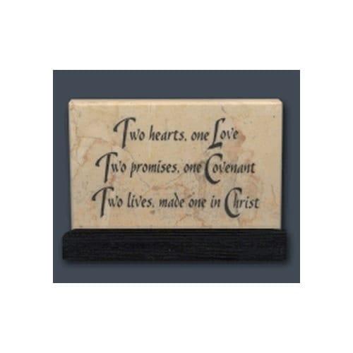 Two Hearts, One Love Jerusalem Stone Prayer Stone