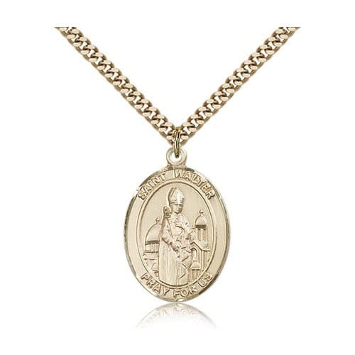 Gold Filled St. Walter of Pontnoise Pendant w/ chain
