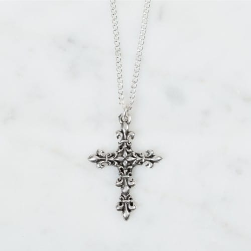 fleur-de-lis cross sterling silver pendant   the catholic company