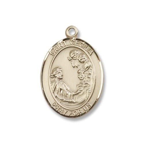 Gold filled st cecilia pendant w chain the catholic company mozeypictures Choice Image