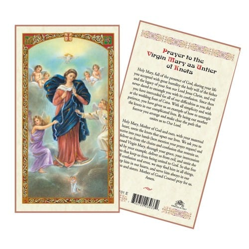 Virgin Mary Untier of Knots Laminated Prayer Card