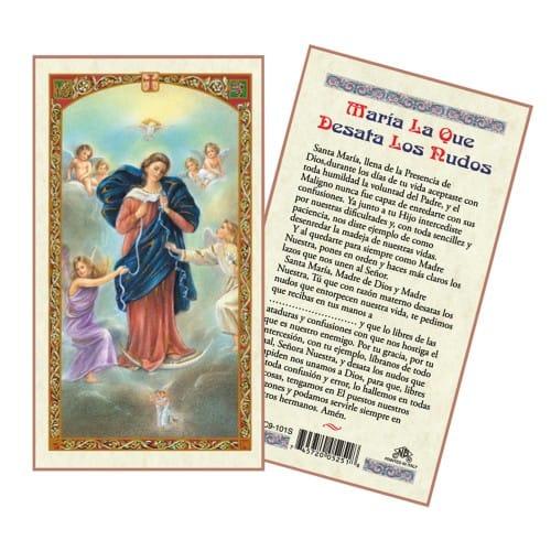 Virgin Mary Untier of Knots Laminated Prayer Card - Spanish