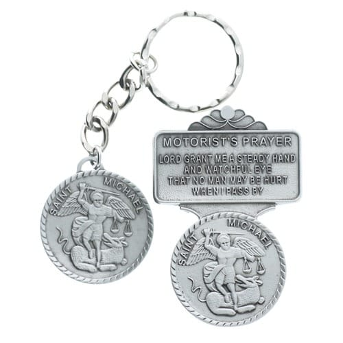 Pewter St Michael Key Ring And Visor Clip 2026236