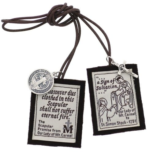 Handmade Brown Scapular with Brown Cord 14 inch