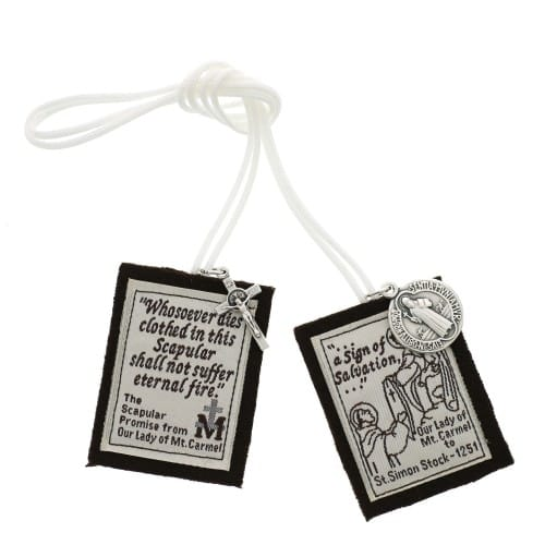 Handmade Brown Scapular with White Cord 20 inch